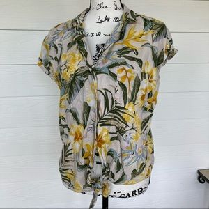 Old Navy Floral Tropical Hawaiian Crop Button Down